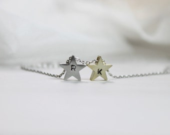 Personalized initial Two stars Necklace - S2303 -1