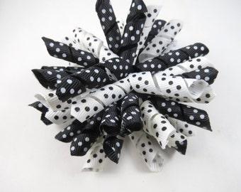 Black and White Polka Dot Korker Hair Bow  -  Black Korker Bow - White Korker Bow - Korker Hair Clip - Korker Hair Bow - Black and White Bow