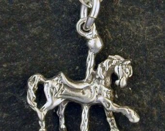 Sterling Silver Carosel Horse Pendant on a Sterling Silver Chain.