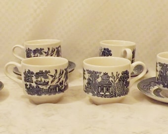 Vintage Churchill English Blue Willow Coffee Cup and Saucer Set