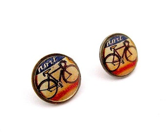Vintage Bike Poster Earrings - Bicycle Earrings Dime Post Earrings - Dime Stud Earrings -Coin Jewelry - Bikes -