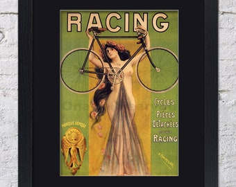 Racing Bicycle Poster - Marque Deposee - Mounted & Framed Vintage Print