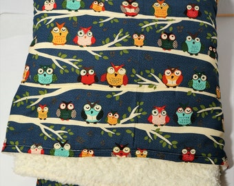 Night Owls in the Trees baby quilt