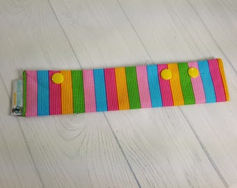 """Long Needle Cozy DPN Holder, Ice Cream Parlor Stripes - project holder 9""""x2"""" - (Hold up to 8"""" Needles) NCL0054"""