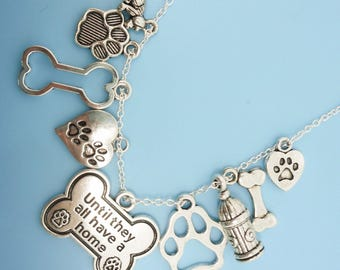 Until They All Have A Home Cat Dog Pet Animal Rescue Charm Necklace Silver Bone Pendant