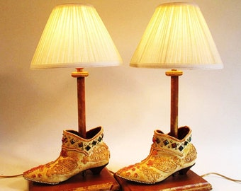 Shoe Lamps, Pair, Vintage Mixed Media Altered Art Lighting Accent Table Lamp Boho Decor Ankle Boots French Flair