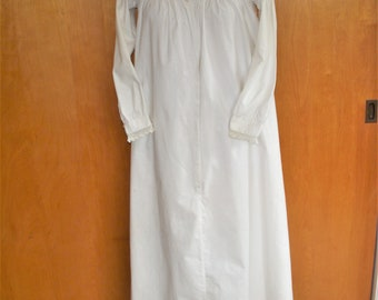 Antique White Cotton Nightgown Victorian Crochet Trim
