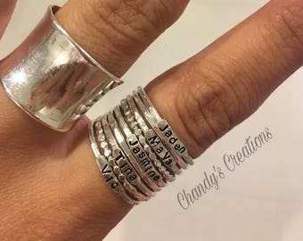 2mm Sterling Silver Stackable Name Rings, Stackable Mother's Rings, Push Present, Stacking Rings, Customized Rings, Name Rings Stackable