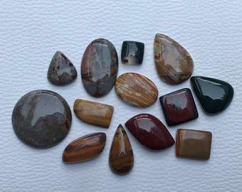 13 Pieces Mix Gemstone Cabochon Lot, Different Jaspers Gemstone Cabochon, Mix Shape Cabochon Gemstones, 395 Crt. Gemstone Cabochon, Mix Size
