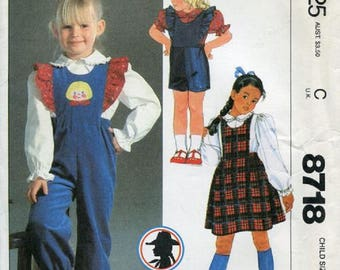 1980's Girls Calamity Jane Ruffled Overalls In Two Lengths, Jumper And Blouse Sewing Pattern, Size 5, UNCUT