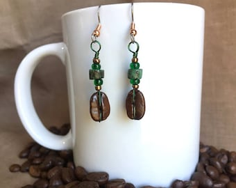 Coffee Earrings...Emerald Isle..Authentic Fair Trade Coffee Bean Earrings .. FREE SHIPPING