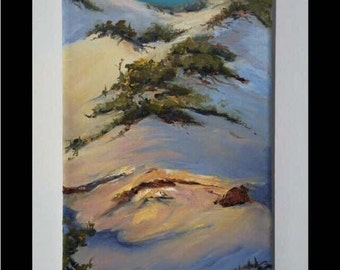 "Original oil painting ""Beach Dune""  by artist Pamela Platt 6 x 10"""