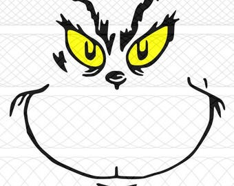 Grinch Face SVG|PNG|STUDIO3 Cut Files for Silhouette Cameo/Portrait & Cricut Explore/Maker DIY Craft Cutters