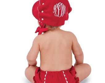 Monogrammed Red Corduroy Bonnet