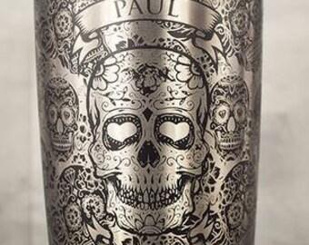 20oz Tumbler Laser Engraved, Black, Sugar Skulls with Name