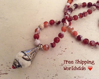 108 Mala Necklace, Agate Mala, Tibetan Necklace, Balancing Necklace, 108 Beads Mala, Yoga Necklace, Brown Agate Mala, Reiki Charged, Love