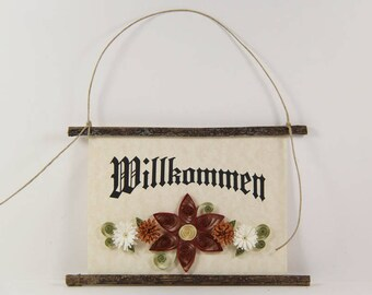 Willkommen, German Welcome, Paper Quilled German Welcome Sign, 3D Quilled Banner, Paper Flower Decor, Brick Rust White Decor, Germany Gift