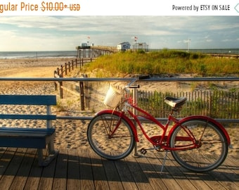 SALE 20% Off Bicycle and Beach Photograph, Ocean City, New Jersey Shore, Summer, Sand, Boardwalk, Pier, Americana, Art Print, Retro, Red, Ho