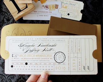 Punch Card Vintage Train Ticket Wedding Invitation - Union Station Train Depot Railroad Theme - or Birthday, Bar / Bat Mitzvah Invitation