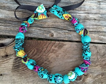 Beaded Fabric Necklace - Ready to Ship - On Sale -