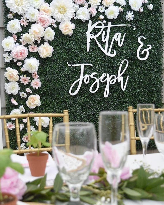 backdrop wedding sign laser cut wedding sign script name