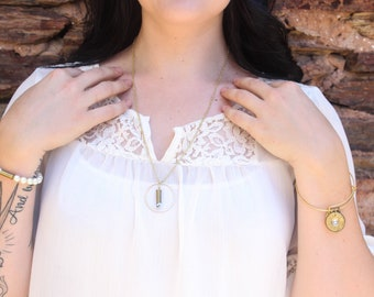 """Agate """"Ring of Fire"""" Dainty Bullet Necklace"""