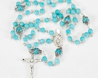 Delicate Amazonite Rosary - Handmade Gift for Catholic Women & Children, Sterling Silver, Ornate Center - Custom, Heirloom 5-Decade Rosaries