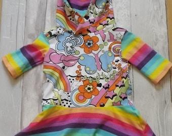 READY MADE- Peplum dress with hood. 3/4 sleeve