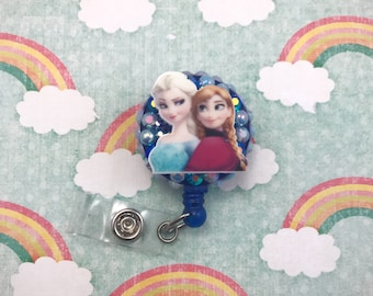 Frozen Elsa Anna Disney Snow Queen Blue Snowflake  Retractable ID Badge Reel Holder Nurse Rn CNA Technician Work Name Tag Nicu