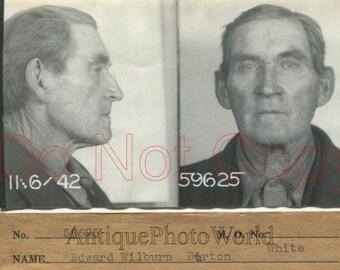 Arrested old man criminal antique police mug shot photo