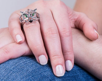 Sterling Silver 925 With Rhodium Green Cubic Zirconia Panther Ring