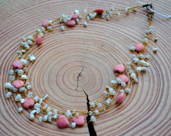 White & Pink heart/coral and pearl/blue crystal, shells and stone multistrand necklaces