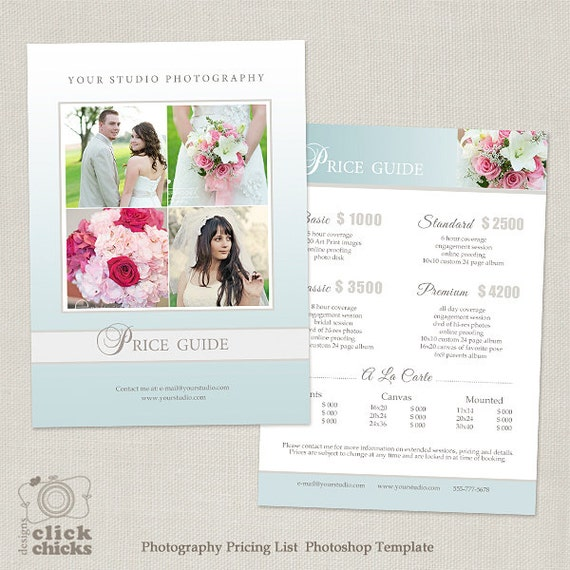 Wedding Photography Packages Template: Wedding Photography Package Pricing List Template