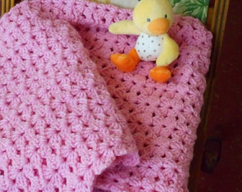 PINK Crochet baby blanket, soft baby blanket, pink baby blanket, handmade crochet very soft blanket, new baby shower gift, Ready to ship