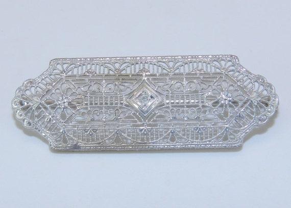 Art Deco Antique Filigree White Gold Filigree Diamond Brooch Pin Circa 1920's