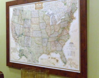 US Earth-toned  Push Pin Travel Map with Pins and Frame 24X36
