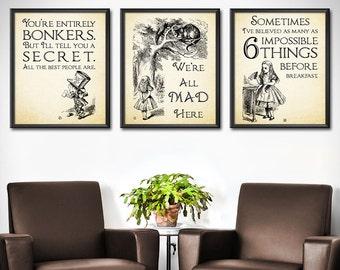 Alice in Wonderland Kids Wall Art Set of 3 - Alice in Wonderland Kids Wall Decor - Alice in Wonderland Room Art  - 0197