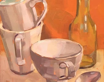 Mugs Silver Spoon Green Bottle, Original Oil Painting, 6x6 inches, Free Domestic Shipping