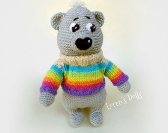 Teddy Bear Crochet - Stuffed Animal in Rainbow Sweater bear crochet animals teddy bear sweater rainbow baby teddy bear Plush MADE TO ORDER