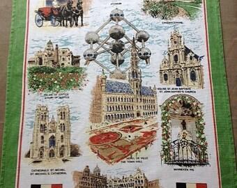 Tea Towel Souvenir of Brussels Belgium 100% Cotton Vintage 1980's