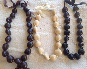Genuine White, Black Or Brown Kukui Nut Choker For Adult Or Necklace For Young Children! Perfect For Dancers, Luau, Beach Wedding, Gifts!!