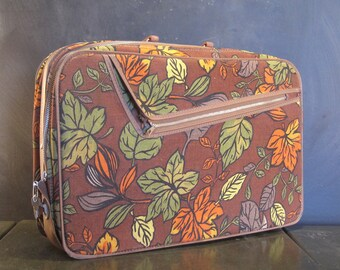 Small Vintage Fabric Suitcase with Lock and Key