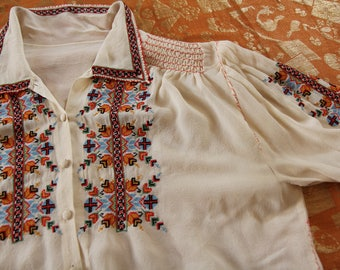RESERVED vintage 1930s crepe embroidered peasant blouse sheer shirt off white smocks cross stitch ethnic 30s 40s handmade romanian hungarian