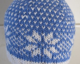 Womans Winter Knitted Hat Berry Blue and White Snowflakes Acrylic Worsted Yarn