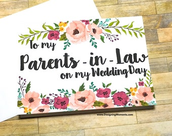 Parents in Law Thank You Card, Wedding Day To my New Mom and Dad, Mother in Law Father in Law Thank You, Wedding Day Card  - MULBERRY