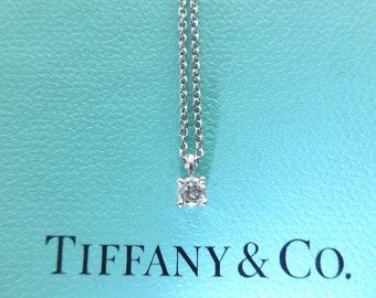 Authentic Tiffany & Co. Platinum Diamond Solitaire Necklace
