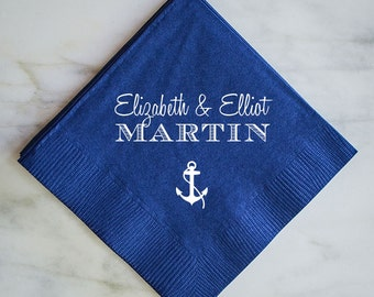 Customized Wedding Napkins with Anchor, Beach Wedding Reception Napkins, Wedding Favor Napkins, Custom Printed Anchor Napkins