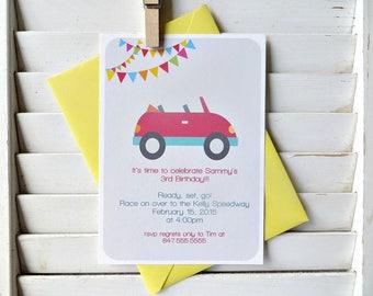 Race car birthday party invitation, car themed birthday party, car themed party, boys birthday party invitation, set of 10