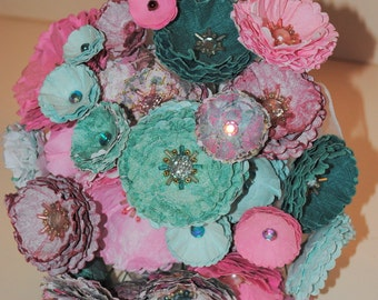 Teal/Pink Paper Wedding Bouquet -Beads and Paper Flowers - Beaded Bridal Bouquet - Bride Bouquet with Bling - Bead Bouquet - Paper Flowers