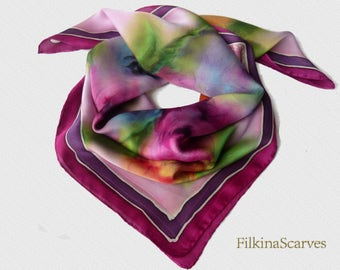 Hand Painted Silk Scarf Roses Floral Pink Purple Silk Painting Handpainted Women Gift for her Unique neck scarf Mothers day gift  FS 11